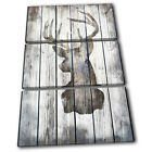 Stag Deer Vintage Wood Animals TREBLE CANVAS WALL ART Picture Print