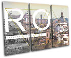 Roma Typography City TREBLE CANVAS WALL ART Picture Print