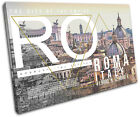 Roma Typography City SINGLE CANVAS WALL ART Picture Print