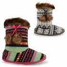 LADIES KNITTED FAIRISLE LINED BOOTIE SLIPPERS FAUX FUR COSY POM POM TEXTILE SHOE