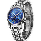 BOS Mens Mechanical Chronograph Dial Stainless Steel Band Waterproof WristWatch