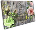 Garden Bird Paint Wood Vintage SINGLE CANVAS WALL ART Picture Print