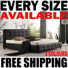 DELUXE BED FRAMES KING QUEEN DOUBLE SINGLE TUFTED PU LEATHER BED FRAME