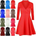 Ladies Skater Dress Womens Polo High Turtle Neck V Plunge Wrap Mini Swing Dress