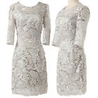 Womens New Half Sleeve Lace Short Wedding Dress Formal Prom Gown Stock Size 6-20