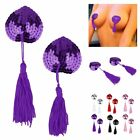 5 Colors Women's Adhesive Lingerie Tassel Heart Bra Nipple Cover Pasties Silicon