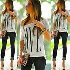 Women's LOVE Lettle Print Loose Off The Shoulder O-neck T-Shirt Blouse Tops NEW
