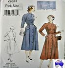 Vogue Sewing Pattern 9051 Vintage Model Ladies 50s Button Coat Dress Pick Size