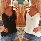 UK Women Sexy Summer Slim Cami Casual Vest Shirt Lace Top Blouse Ladies Top Tank