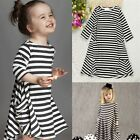 Toddler Kids Baby Girls Striped Dress Long Sleeve Princess Party Dresses Clothes
