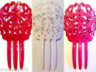 New Polka Dot Spanish Flamenco Hair Comb Peineta - Red Pink White
