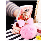 Bling Crystal Diamonds Bow Ring Mirror Tassel Soft TPU Case Cover For Cell Phone