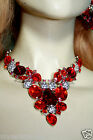 Red V-Shape Rhinestone Austrian Crystal Choker Necklace Earring Pageant Prom