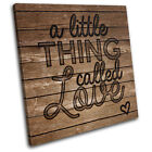 Love Wooden Typography Vintage SINGLE CANVAS WALL ART Picture Print