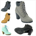 NEW Women's Fashion Lace Up Chunky Stacked High Heel Ankle Booties Pumps Shoes