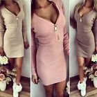 New Women Stretch Zipper V Neck Jumper Bodycon Low Cut Cocktail Party Mini Dress