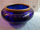 VINTAGE COLBALT BLUE GLASS BOWL WITH SILVER OVERLAY (ref56.4)