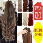 "24"" Best HAIR EXTENTION half head one piece 5 CLIPS Brown Blonde Like Human Hair"