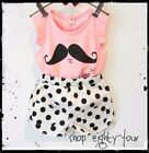 Girls 2pcs Poka Dot Moustache Outfit