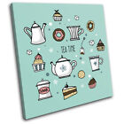 Retro Tea Dessert Food Vintage SINGLE CANVAS WALL ART Picture Print