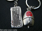 CUTE COMPUTER KEYBOARD & MOUSE LOVERS COUPLES TWIN KEYRINGS GIFT IDEA UK SELLER