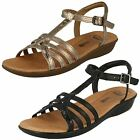 Ladies Clarks Manilla Porta Metallic Or Black Leather Casual Sandals