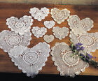 Handmade All-over Tatting Lace Heart Doilies, 4-piece, 2 Colors