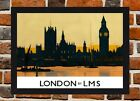 Framed London Railway Travel Poster A4 / A3 Size In Black / White Frame
