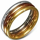 Stainless Steel Three Gold-Tone Stacking Polished Ring Band Set, 3 mm Wide