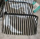 3 Makeup Cosmetic Bags Black White Striped Fabric Zip Top Tube Style Multi-Color