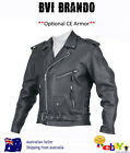 MENS LEATHER JACKET MOTORCYCLE BIKER COAT PREMIUM LEATHER JACKET- BVI 'BRANDO''