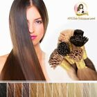 "20"" 100% Indian Remy Hair I tips micro beads Rings Extensions #4 Chestnut Brown"