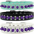 Double Crystal With Purple Spikes Dog Collar sizes 12 thru  20