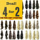 Deluxe Thick Clip in Hair Extensions Claw Ponytail Pony Tail Hairpieces Blonde