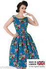 New Lady V London Floral Birds Audrey Dress 50's Vintage Party Wedding UK 20