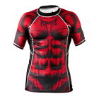 Peresvit Silver Force Beast MMA BJJ Rash Guard Muscle Red Grappling Short Sleeve
