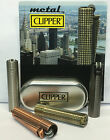 GENUINE METAL GRID DESIGN CHROME METALLIC CLIPPER LIGHTER WITH GIFT CASE TIN