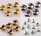 Внешний вид - Wholesale 200pc Golden Silver Plated End Crimp Beads Knot Covers Finding 3/4/5mm