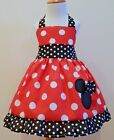 MINNIE MOUSE HALTER DRESS WITH RED & BLACK WHITE POLKA DOTS SIZES FROM 12M TO 6Y