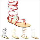 New Women's Fashion Ankle High Lace Up Leg Wrap Gladiator Flat Sandals Shoes