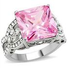 Pink Solitaire CZ Ring Stainless Steel Rose Silver Princess Size 5-10