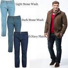 Mens Straight Cut Loose Fit Medium Rise 100% Cotton Stonewash & Plain Jeans Pant