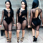 New Women Mesh Clubwear Bandage Cocktail Long Sleeve Bodycon Evening Party Dress