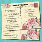 Personalised Wedding Invitations with Envelopes - Vintage Postcard Roses
