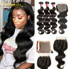 3 bundles Brazilian Body Wave Virgin Human Hair Weave Weft with 4*4 Lace closure