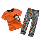 New Baby Children Kid Boy T-shirt+Striped Pants 2PC set Outfit Clothing