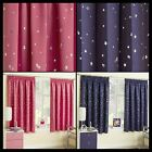 Cosmic Childrens Bedroom Lined Black Out Curtains Stars Space Kids Tape Top