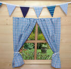 BOYS PLAYHOUSE/DEN CURTAINS ~ BLUE CHECK ~ INCLUDES CURTAIN WIRE & TIE BACKS