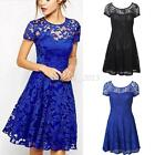 Fashion Women Short Sleeve Floral Lace Dress Evening Party Cocktail Mini Dress