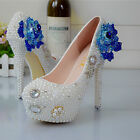 Handmade Pearl White Blue Rose Wedding Ball Club Shoe High Heels Evening Party O
